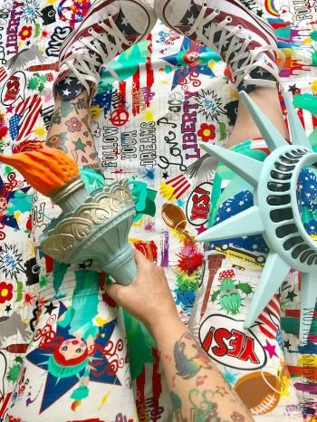 ♥NYC on GRAFFTIschön♥ 0.4m JERSEY Eigenproduktion WEISS/BUNT