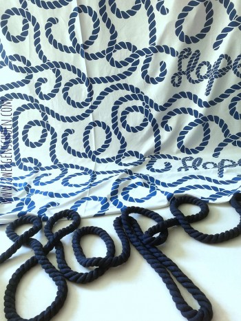 ♥ROPES XL♥ 0.5m DESIGNER FABRIC by ZWERGENSCHOEN French TERRY marine on white