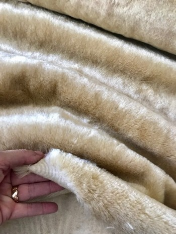 ♥KUSCHELFELL♥ 0.5m FAKE Fell BEIGE Luxus VEGAN Pelz