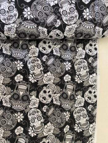 ♥CALAVERA♥ 0.5m JERSEY Skulls BLACK