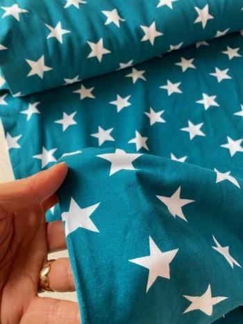 ♥BIG STARS♥ 0.5m JERSEY Sterne PETROL blau