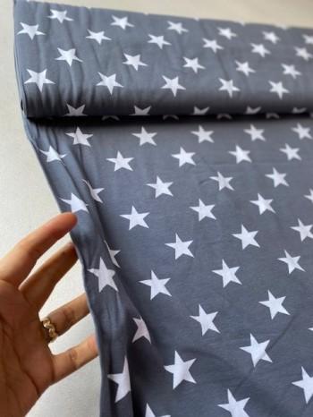 ♥BIG STARS♥ 0.5m JERSEY Sterne GRAU grey STARS