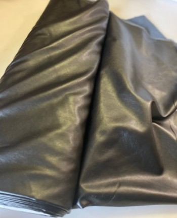 ♥Fake LEATHER♥ 0.5m VEGAN waschbar LEDER schwarz METALLIC