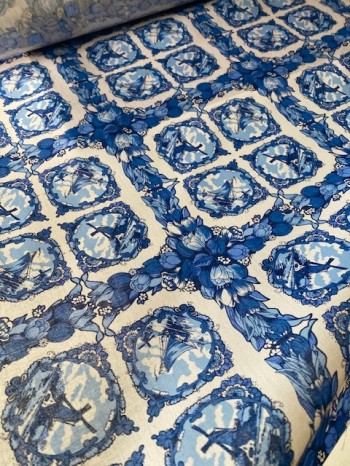 ♥DELFT♥ 0.5m Baumwolle HOLLAND Delfter Stoff WEBWARE