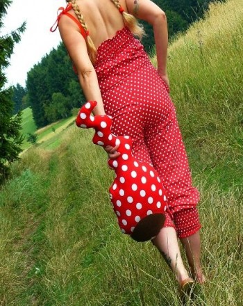 ♥POLKA DOTS♥ 0.5m fabric WOVEN cotton RED with WHITE dots