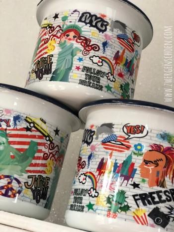 ♥NYC♥ Mug ENAMEL Graffiti USA 0.3L