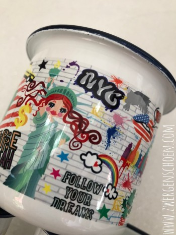 ♥NYC♥ Mug ENAMEL Graffiti USA 0.3L