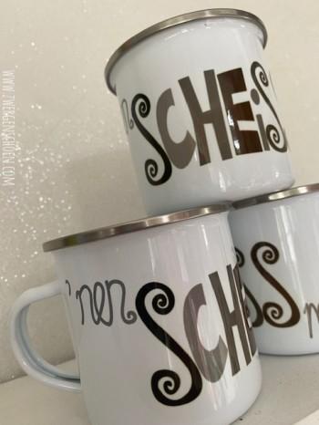♥  `NEN SCHEISS MUß ICH♥ Tasse EMAILLE 0.3L grau/silber
