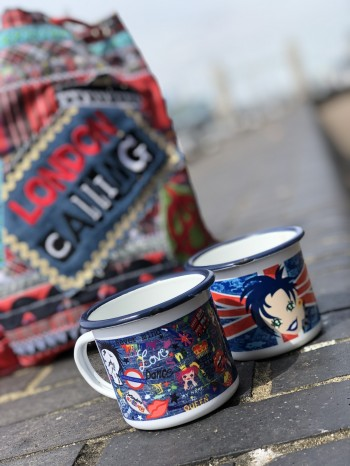 ♥LONDON on GRAFFITI Jeans♥ Tasse EMAILLE