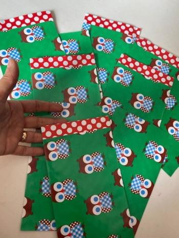 ♥sweet OWLs♥ flat PAPER BAG 10pieces GREEN