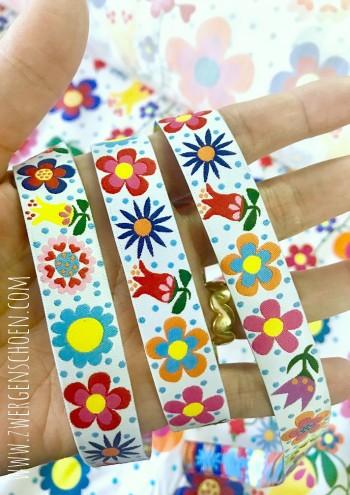 ♥BLUMENschön on WHITE♥ Webband BLUMEN Flower Power PUNKTE