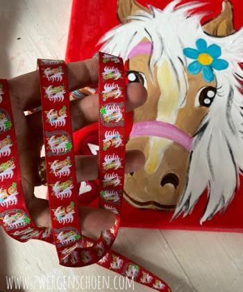 ♥MON CHÈRI♥ Webband HOTTESCHÖN Pferde PONY herzblutrot