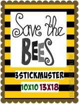 ♥SAVE THE BEES♥ 1€-SPARbie Embroidery-FILE 10x10 13x18cm For the Planet