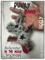 ♥PUNKY Bunny♥ Stickmuster ITH 10x10cm UGGLY SERIE