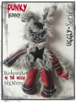 ♥PUNKY Bunny♥ Stickmuster ITH 13x18cm UGGLY SERIE