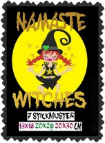♥NAMASTE WITCHES♥ Stickmuster HEXE Yoga 13x18 20x26 20x30cm