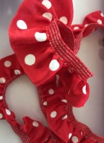 ♥RUFFLes♥love RED POLKA DOTS elastic RIBBON