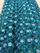 ♥PAILETTEN-GLITZER-BORTE♥ Ric-Rac TÜRKIS Blau 1cm BREIT