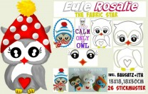 ♥ROSALIE♥ FABRICstar Eule 13x18 18x30cm SPEZIAL Bausatz IN THE HOOP