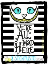 ♥ALLY`s CAT♥ Embroidery FILE-Set CHESHIRE Cat MAD Letter 10x10 13x18 20x30cm