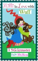 ♥MILLI in LOVE with WUFF♥ Embroidery FILE Dog LOVE 13x18 20x26cm