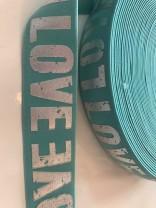 ♥LOVE♥ Gummiband 4cm MINT silber