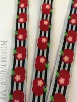 ♥APFELschoen♥ APPLES on STRIPES Ribbon BLACK