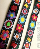 ♥BLUMENschön on BLACK♥ Webband BLUMEN Flower Power PUNKTE