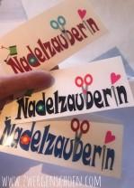 ♥NADELZAUBERIN♥ Aufkleber TRANSPARENT 3 Farben wählbar