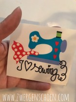 ♥I LOVE SEWING♥ Aufkleber NÄHMASCHINE transparent 8x9cm