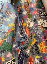 ♥LONDON on GRAFFITIschön♥ 0.37m BESCHICHTETE Baumwolle Jeansdruck
