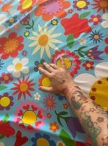 ♥BLUMENSCHÖN XXL♥ 0.5m JERSEY Riesen-Blumen BLAU