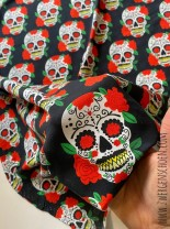 ♥MEXICOschön vol.2♥ 0.5m JERSEY black DOTS Scull CALAVERA
