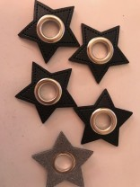♥KUNSTLEDER-STERN-Oese♥ schwarz 11mm ÖSE Nickel SILBER