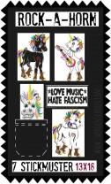 ♥ROCK-a-HORN♥ Stickmuster EINHORN Punkicorn 13x18cm