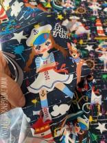 ♥MATROSEN auf GRAFFITschön♥ 0.46m WEBWARE marine ZWERGENSCHÖN Baumwolle