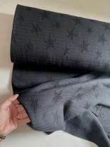 ♥JACQUARD WAFFLE STAR♥ 0.5m Baumwolle STERNE schwarz