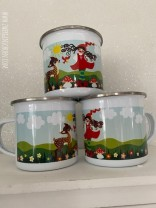 ♥MILLI in LOVE with BAMBI♥ Tasse EMAILLE Mug 0.3L silberner RAND