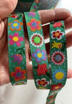 ♥BLUMENschoen on GREEN♥ RIBBON Flower Power GREEN
