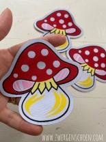 ♥happy MUSHROOM♥ badge PATCH woven LABEL 10cm