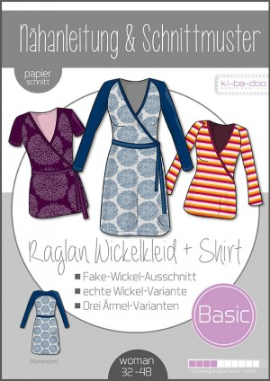♥Damen Basic Raglan-Wickelkleid/-Shirt♥ PAPIER-SCHNITTMUSTER Din A0 WOMAN 32-48
