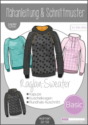 ♥Basic Raglan Sweater Damen♥ PAPIER-SCHNITTMUSTER Din A0 WOMAN 32-58
