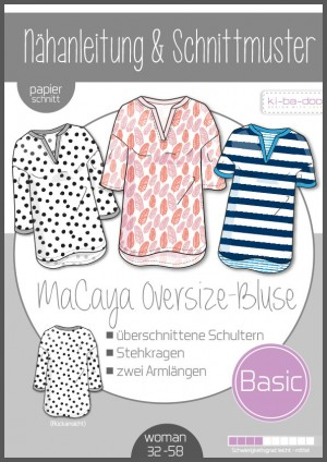 ♥Oversize Bluse MaCaya♥ PAPIER-SCHNITTMUSTER Din A0 WOMAN 32-58