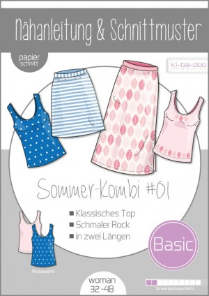 ♥Damen Sommer Kombi #01 ♥ PAPIER-SCHNITTMUSTER Din A0 WOMAN 32-48