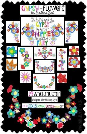 ♥GYPSY-Flowers KRITZELKRATZEL♥ Embroidery FILE-Set SPECIAL EFFEKT 10x10 13x18 18x30 20x26 20x30cm