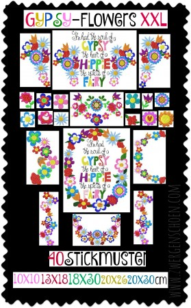 ♥GYPSY-Flowers XXL♥ Embroidery File-Set BOHO 10x10 13x18 18x30 20x26 20x30cm