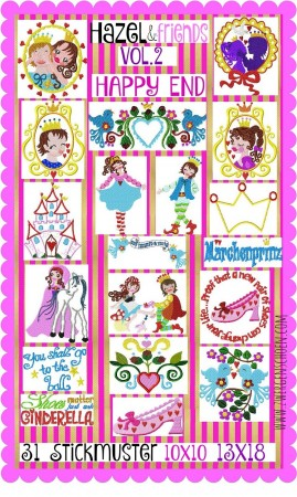 ♥HAZEL&Friends vol.2♥ Embroidery FILE-Set CINDERELLA Princess 10x10 13x18cm
