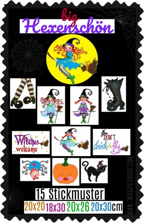 ♥big HEXENSCHoeN♥ Embroidery FILE-Set WITCH GigaHOOP 20x20 18x30 20x26 20x30cm