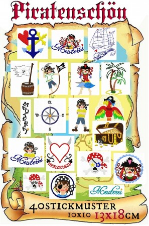 ♥PIRATENSCHoeN♥ Embroidery FILE Set 10x10 13x18cm PIRATES