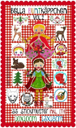 ♥BELLA BUNTKaePPCHEN♥ Embroidery FILE Set incl. ITH little RED 10x10 13x18cm